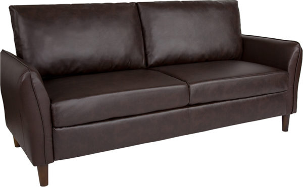 Wholesale Milton Park Upholstered Plush Pillow Back Sofa in Brown Leather