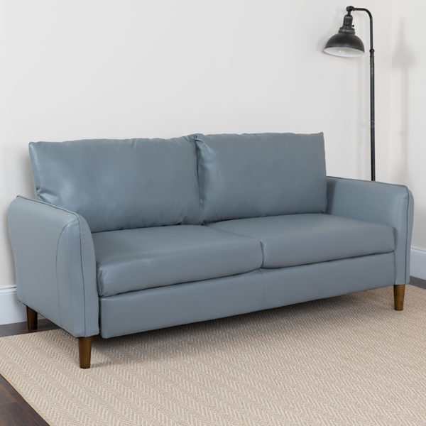 Lowest Price Milton Park Upholstered Plush Pillow Back Sofa in Gray Leather