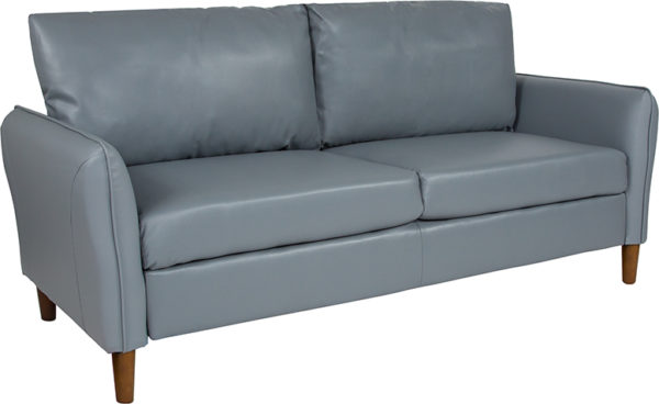 Wholesale Milton Park Upholstered Plush Pillow Back Sofa in Gray Leather