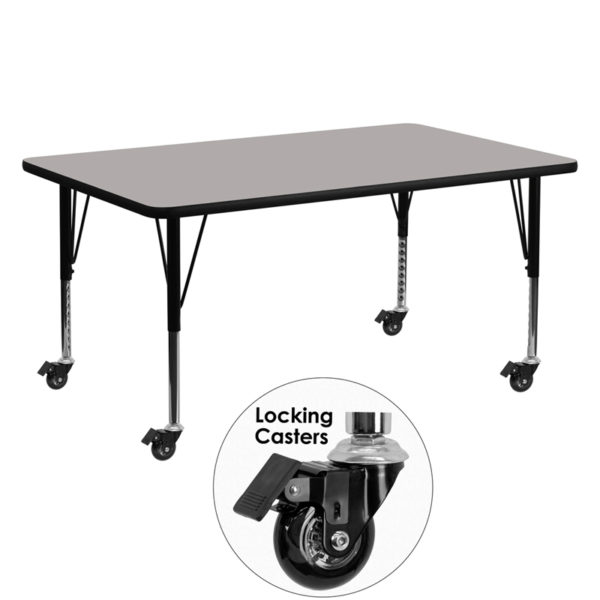 Wholesale Mobile 24''W x 60''L Rectangular Grey HP Laminate Activity Table - Height Adjustable Short Legs