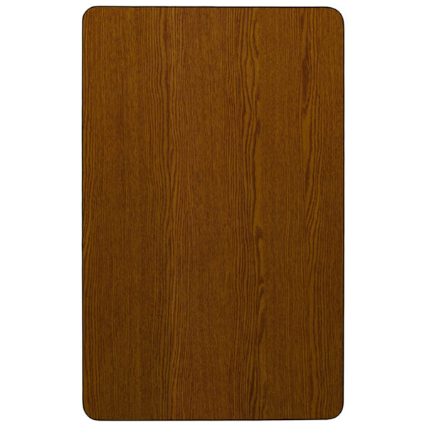 Lowest Price Mobile 24''W x 60''L Rectangular Oak HP Laminate Activity Table - Height Adjustable Short Legs