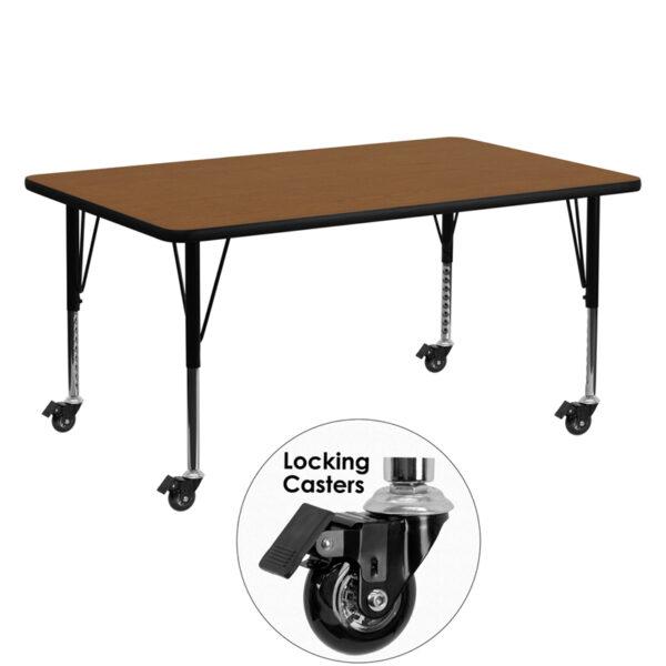 Wholesale Mobile 24''W x 60''L Rectangular Oak HP Laminate Activity Table - Height Adjustable Short Legs