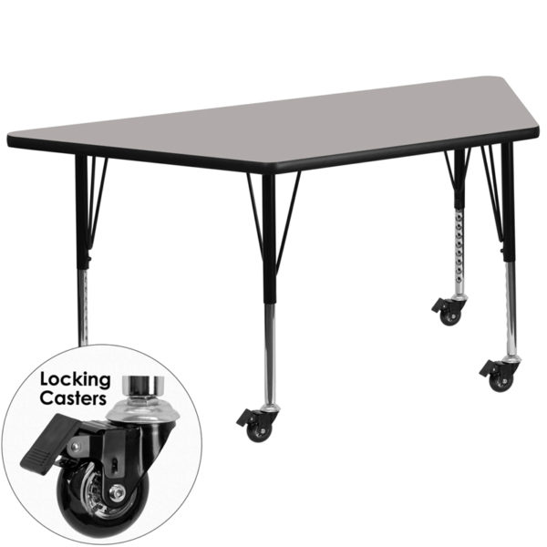 Wholesale Mobile 29.5''W x 57.25''L Trapezoid Grey HP Laminate Activity Table - Height Adjustable Short Legs