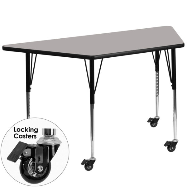 Wholesale Mobile 29.5''W x 57.25''L Trapezoid Grey HP Laminate Activity Table - Standard Height Adjustable Legs
