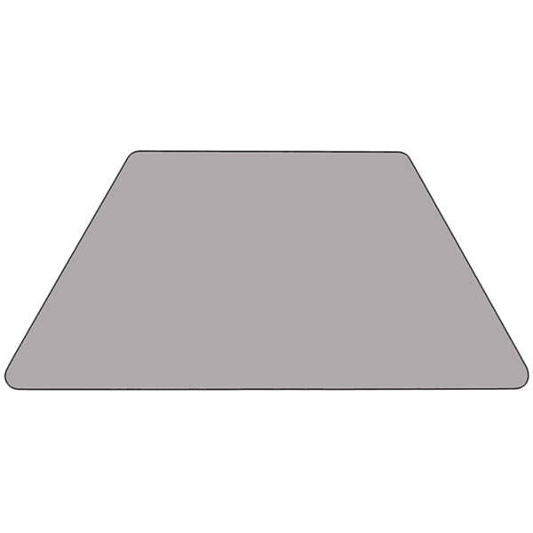 Lowest Price Mobile 29.5''W x 57.25''L Trapezoid Grey Thermal Laminate Activity Table - Height Adjustable Short Legs
