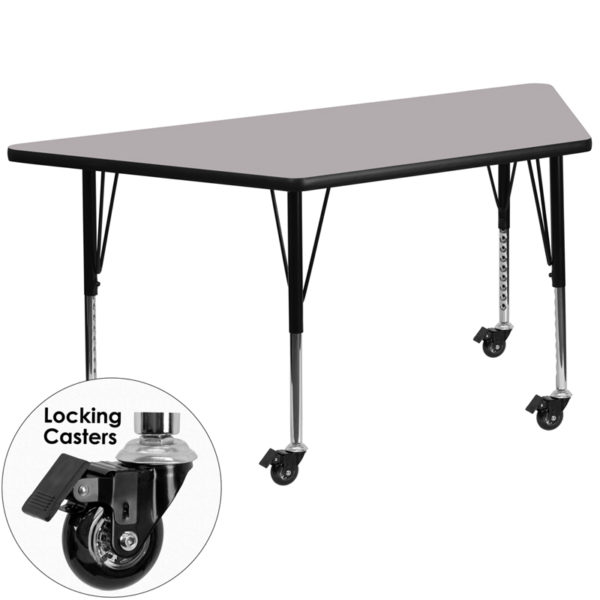 Wholesale Mobile 29.5''W x 57.25''L Trapezoid Grey Thermal Laminate Activity Table - Height Adjustable Short Legs