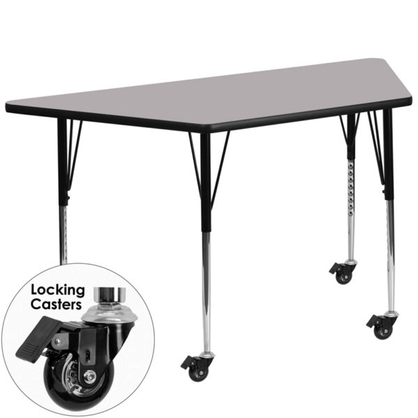 Wholesale Mobile 29.5''W x 57.25''L Trapezoid Grey Thermal Laminate Activity Table - Standard Height Adjustable Legs
