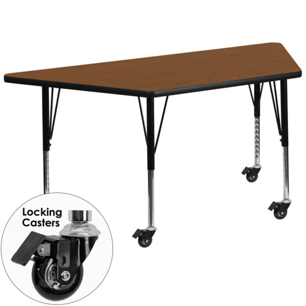 Wholesale Mobile 29.5''W x 57.25''L Trapezoid Oak HP Laminate Activity Table - Height Adjustable Short Legs