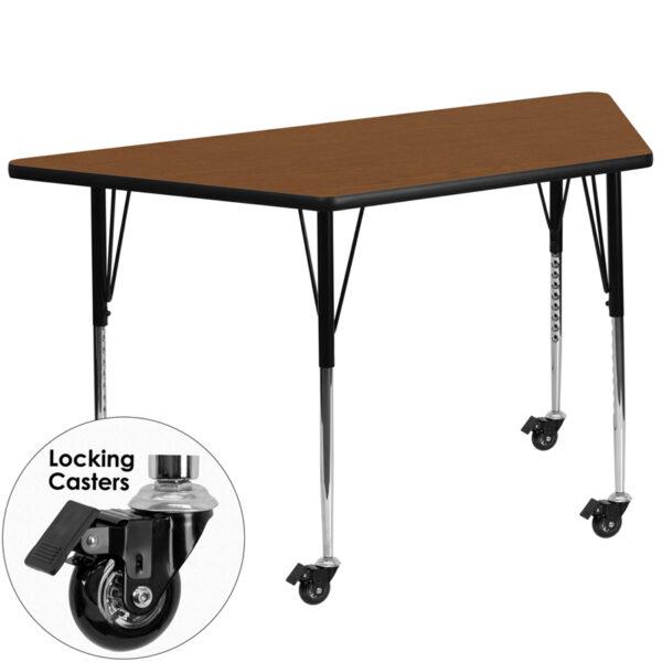 Wholesale Mobile 29.5''W x 57.25''L Trapezoid Oak HP Laminate Activity Table - Standard Height Adjustable Legs