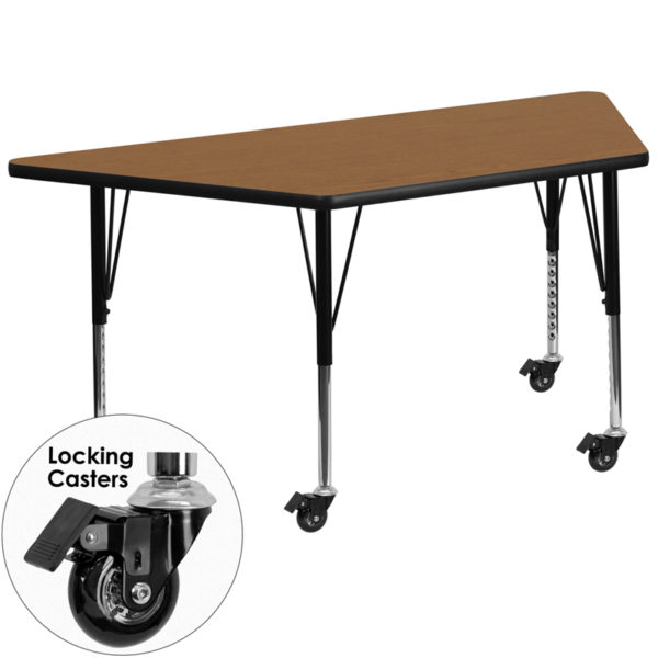 Wholesale Mobile 29.5''W x 57.25''L Trapezoid Oak Thermal Laminate Activity Table - Height Adjustable Short Legs