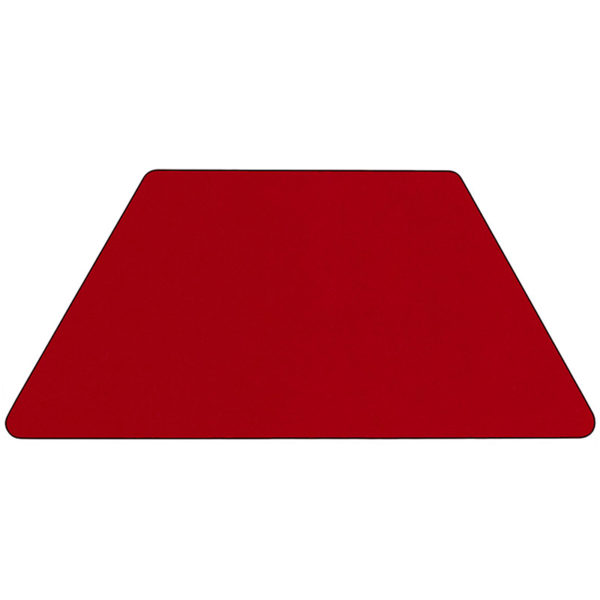 Lowest Price Mobile 29.5''W x 57.25''L Trapezoid Red Thermal Laminate Activity Table - Height Adjustable Short Legs