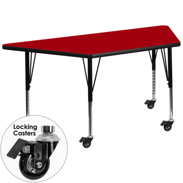 Wholesale Mobile 29.5''W x 57.25''L Trapezoid Red Thermal Laminate Activity Table - Height Adjustable Short Legs