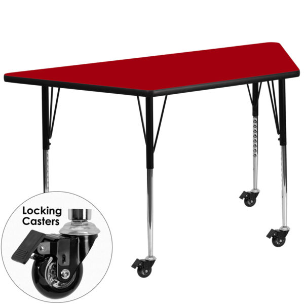 Wholesale Mobile 29.5''W x 57.25''L Trapezoid Red Thermal Laminate Activity Table - Standard Height Adjustable Legs