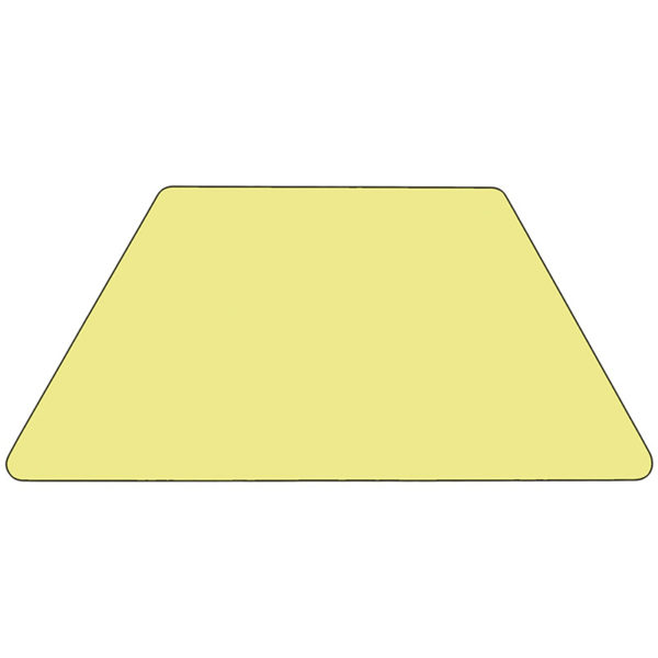 Lowest Price Mobile 29.5''W x 57.25''L Trapezoid Yellow Thermal Laminate Activity Table - Height Adjustable Short Legs