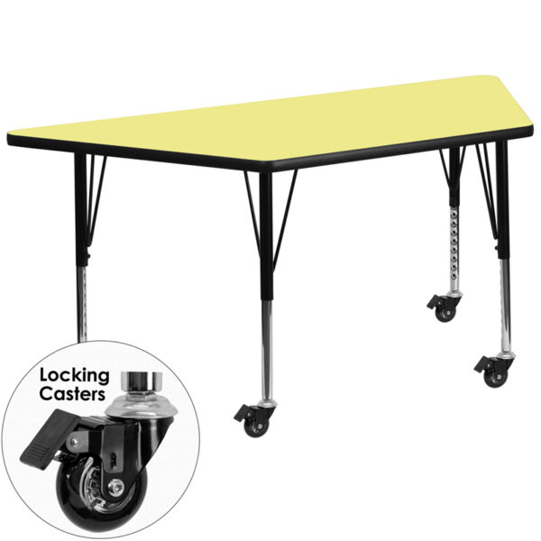 Wholesale Mobile 29.5''W x 57.25''L Trapezoid Yellow Thermal Laminate Activity Table - Height Adjustable Short Legs