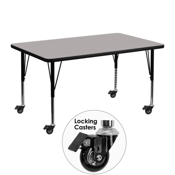 Wholesale Mobile 30''W x 48''L Rectangular Grey HP Laminate Activity Table - Height Adjustable Short Legs