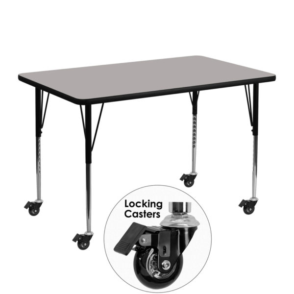 Wholesale Mobile 30''W x 48''L Rectangular Grey HP Laminate Activity Table - Standard Height Adjustable Legs