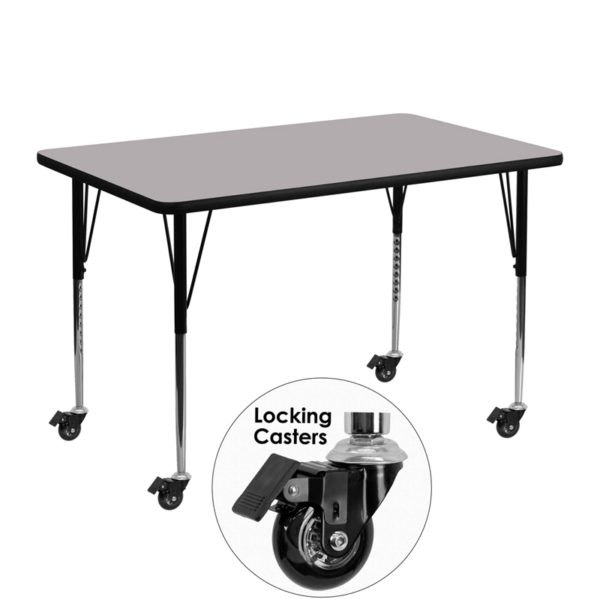 Wholesale Mobile 30''W x 48''L Rectangular Grey Thermal Laminate Activity Table - Standard Height Adjustable Legs