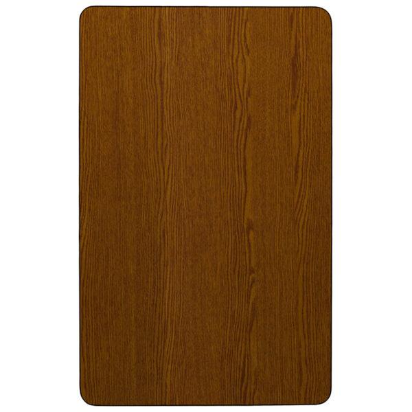 Lowest Price Mobile 30''W x 48''L Rectangular Oak HP Laminate Activity Table - Height Adjustable Short Legs