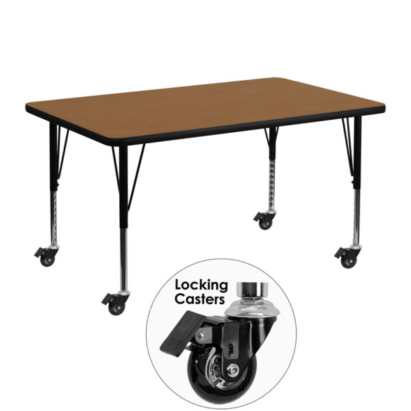 Wholesale Mobile 30''W x 48''L Rectangular Oak Thermal Laminate Activity Table - Height Adjustable Short Legs