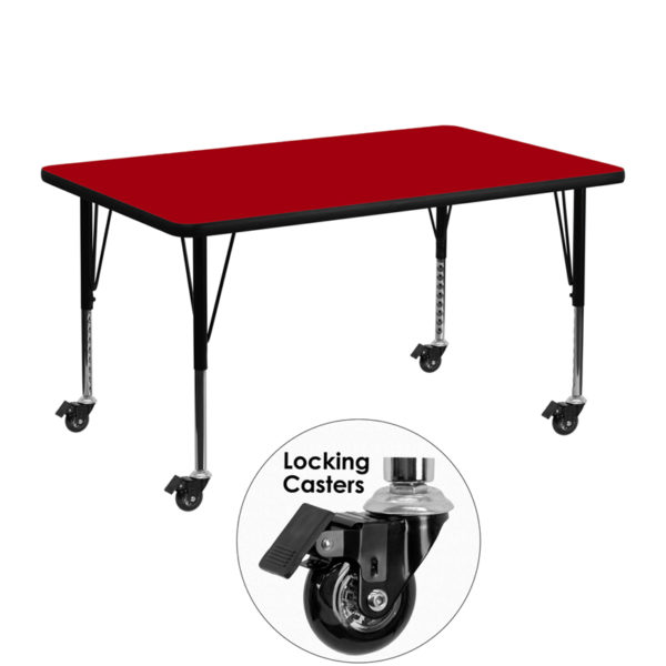 Wholesale Mobile 30''W x 48''L Rectangular Red Thermal Laminate Activity Table - Height Adjustable Short Legs