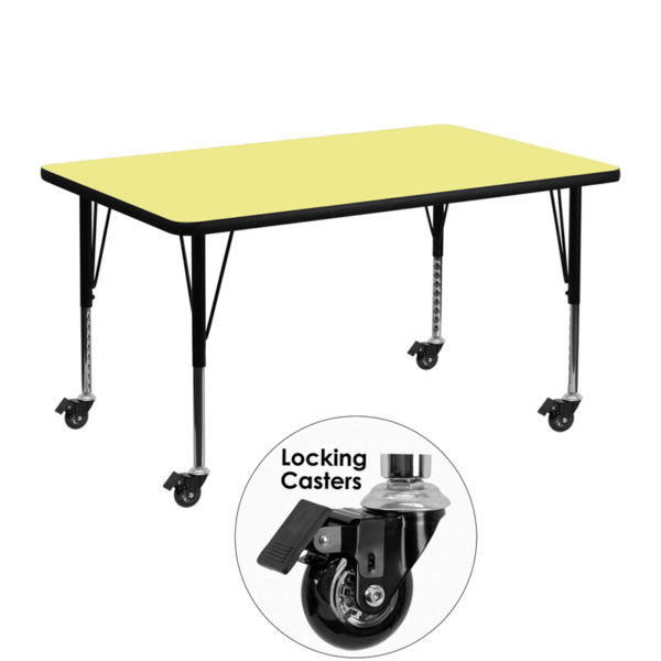 Wholesale Mobile 30''W x 48''L Rectangular Yellow Thermal Laminate Activity Table - Height Adjustable Short Legs