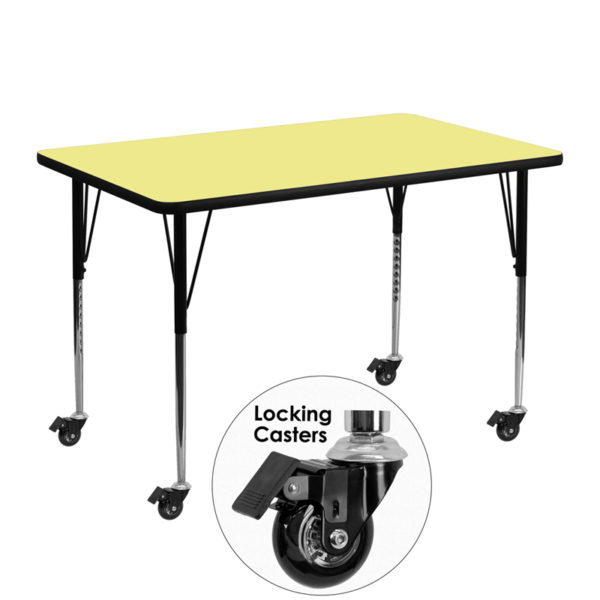 Wholesale Mobile 30''W x 48''L Rectangular Yellow Thermal Laminate Activity Table - Standard Height Adjustable Legs