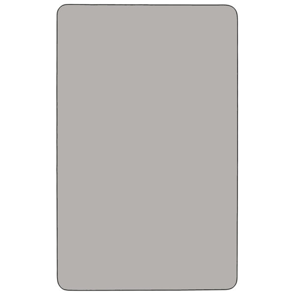 Lowest Price Mobile 30''W x 60''L Rectangular Grey HP Laminate Activity Table - Height Adjustable Short Legs