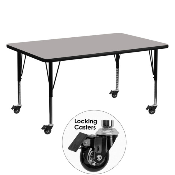 Wholesale Mobile 30''W x 60''L Rectangular Grey HP Laminate Activity Table - Height Adjustable Short Legs