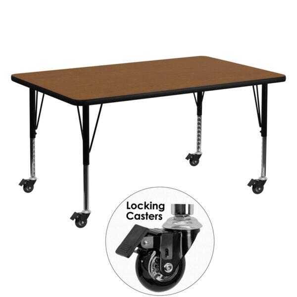 Wholesale Mobile 30''W x 60''L Rectangular Oak HP Laminate Activity Table - Height Adjustable Short Legs