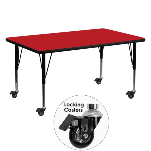 Wholesale Mobile 30''W x 60''L Rectangular Red HP Laminate Activity Table - Height Adjustable Short Legs