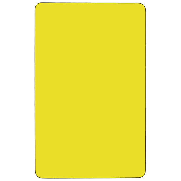 Lowest Price Mobile 30''W x 60''L Rectangular Yellow HP Laminate Activity Table - Height Adjustable Short Legs