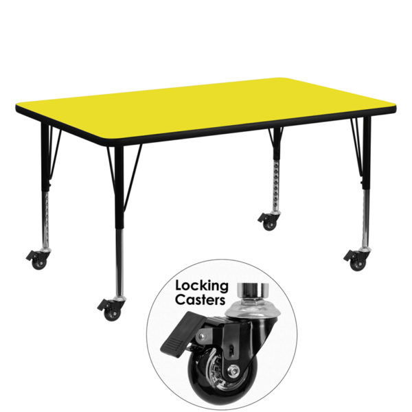 Wholesale Mobile 30''W x 60''L Rectangular Yellow HP Laminate Activity Table - Height Adjustable Short Legs
