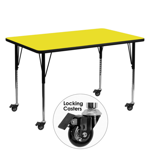 Wholesale Mobile 30''W x 60''L Rectangular Yellow HP Laminate Activity Table - Standard Height Adjustable Legs