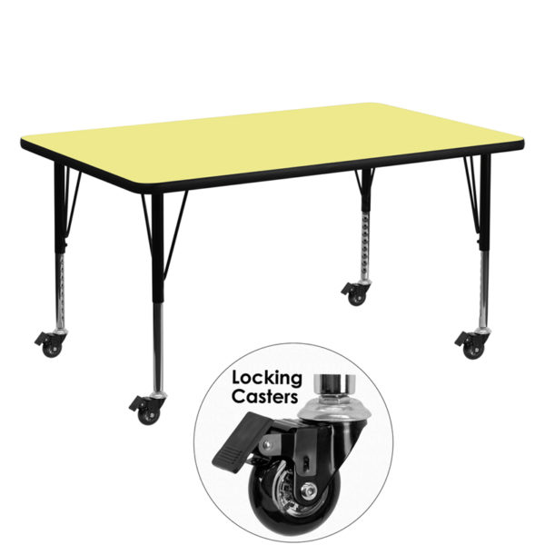 Wholesale Mobile 30''W x 60''L Rectangular Yellow Thermal Laminate Activity Table - Height Adjustable Short Legs