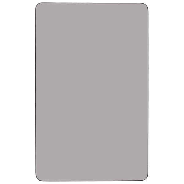 Lowest Price Mobile 30''W x 72''L Rectangular Grey Thermal Laminate Activity Table - Height Adjustable Short Legs
