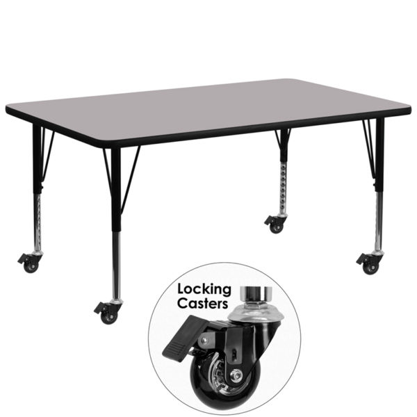 Wholesale Mobile 30''W x 72''L Rectangular Grey Thermal Laminate Activity Table - Height Adjustable Short Legs