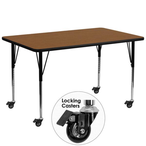 Wholesale Mobile 30''W x 72''L Rectangular Oak HP Laminate Activity Table - Standard Height Adjustable Legs