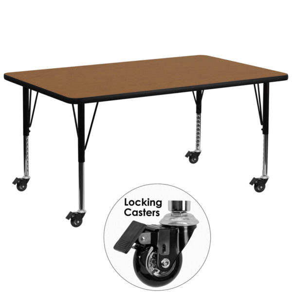 Wholesale Mobile 30''W x 72''L Rectangular Oak Thermal Laminate Activity Table - Height Adjustable Short Legs