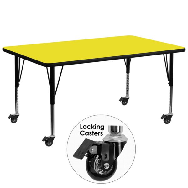 Wholesale Mobile 30''W x 72''L Rectangular Yellow HP Laminate Activity Table - Height Adjustable Short Legs