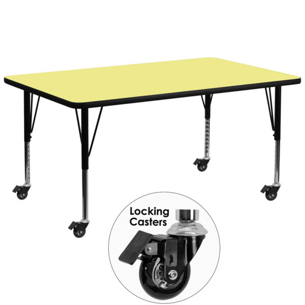 Wholesale Mobile 30''W x 72''L Rectangular Yellow Thermal Laminate Activity Table - Height Adjustable Short Legs