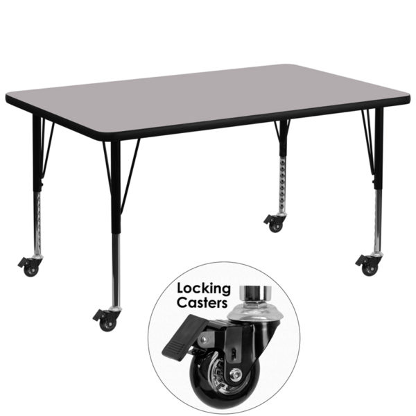 Wholesale Mobile 36''W x 72''L Rectangular Grey Thermal Laminate Activity Table - Height Adjustable Short Legs