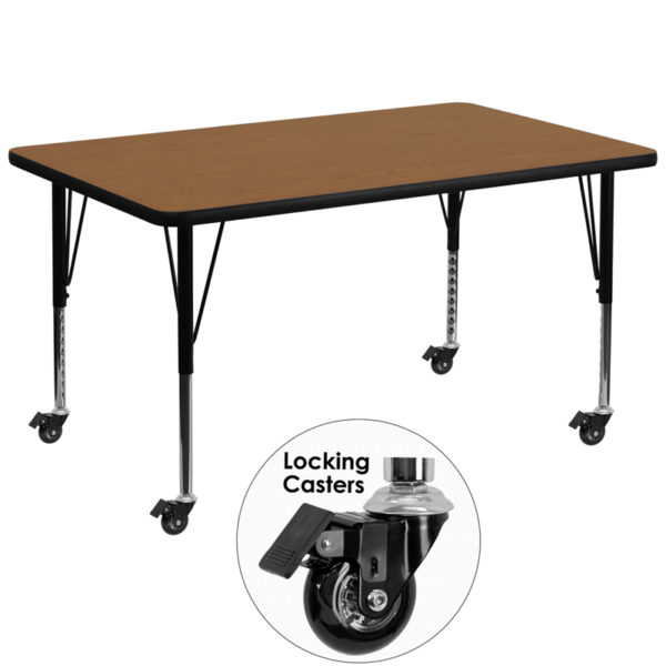 Wholesale Mobile 36''W x 72''L Rectangular Oak Thermal Laminate Activity Table - Height Adjustable Short Legs