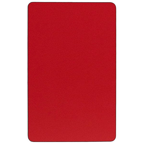 Lowest Price Mobile 36''W x 72''L Rectangular Red HP Laminate Activity Table - Height Adjustable Short Legs