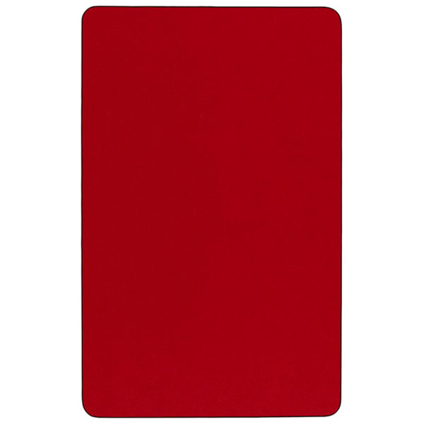 Lowest Price Mobile 36''W x 72''L Rectangular Red Thermal Laminate Activity Table - Height Adjustable Short Legs