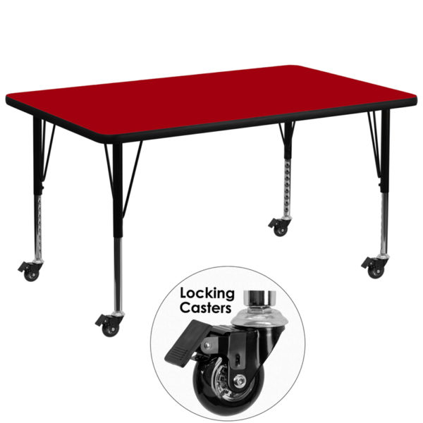 Wholesale Mobile 36''W x 72''L Rectangular Red Thermal Laminate Activity Table - Height Adjustable Short Legs