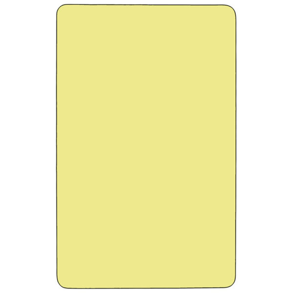 Lowest Price Mobile 36''W x 72''L Rectangular Yellow Thermal Laminate Activity Table - Height Adjustable Short Legs
