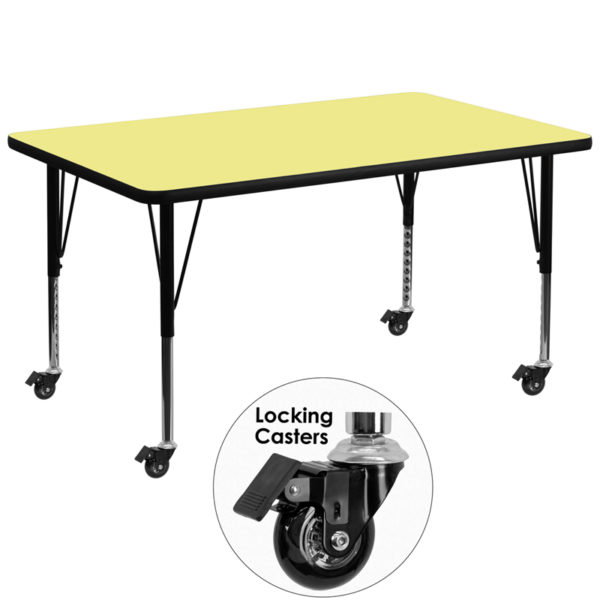 Wholesale Mobile 36''W x 72''L Rectangular Yellow Thermal Laminate Activity Table - Height Adjustable Short Legs