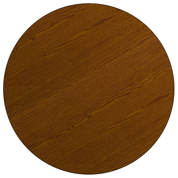 Lowest Price Mobile 42'' Round Oak HP Laminate Activity Table - Height Adjustable Short Legs