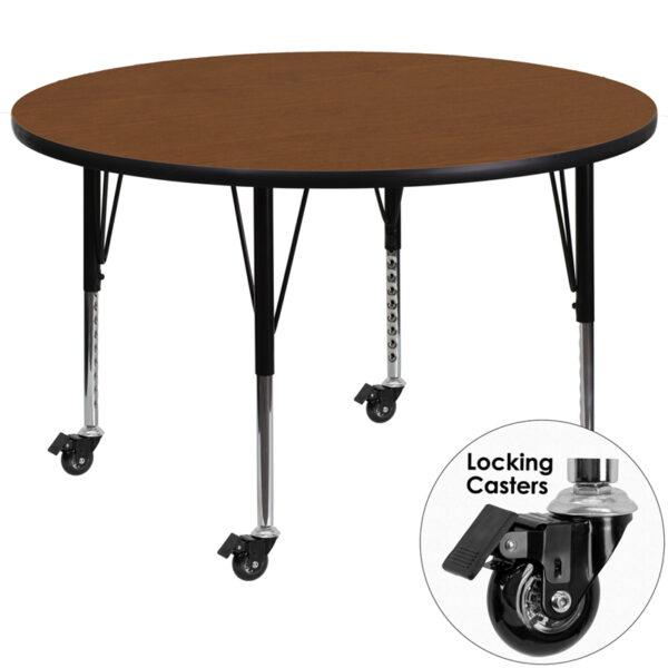 Wholesale Mobile 42'' Round Oak HP Laminate Activity Table - Height Adjustable Short Legs